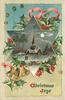 CHRISTMAS JOYS  star shaped inset snowty night view of church, bell lower left