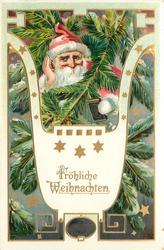 FROHLICHE WEIHNACHTEN  Santa's face with red hat, hand to ear behind Xmas tree branches