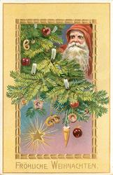 FROHLICHE WEIHNACHTEN  Santa's face with red cloaked hood upper right, in Xmas tree branches with many ornaments, star in insert
