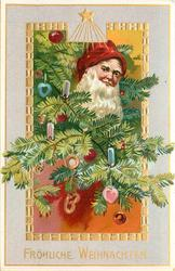 FROHLICHE WEIHNACHTEN  Santa's face with red hat, in Xmas tree branches with many ornaments, star above central