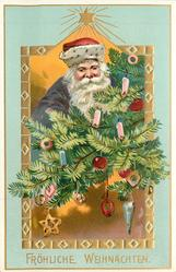 FROHLICHE WEIHNACHTEN  Santa's face with red hat, purple robes centrally behind Xmas tree branches with many ornaments, star above central