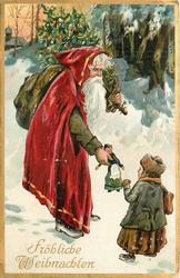 FROHLICHE WEIHNACHTEN  Santa, with sack on shoulder, gives doll to girl in the snow