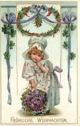 FROHLICHE WEIHNACHTEN  white bonnetted girl with violets