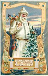 FROHLICHE WEIHNACHTEN  white robed Santa carries tree, puppet on belt & in sack