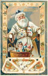 FROLICHE WEIHNACHTEN  white suited Santa with blue cap, holds book in left hand and twig in right, basket of toys below