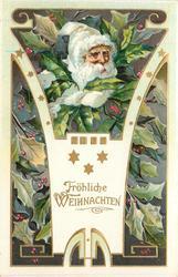 FROLICHE WEIHNACHTEN  Santa's face white hat, in holly leaves, 3 stars in insert