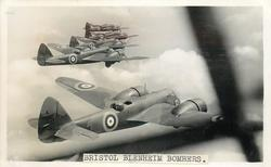 BRISTOL BLENHEIM, A MID-WING MONOPLANE BOMBER. TWO 840 H.P. BRISTOL MERCURY ENGINES. TOP SPEED 280 M.P.H. TWO MACHINE GUNS- ONE IN POWER DRIVEN TURRET. INTERNALL STOWED BOMBS