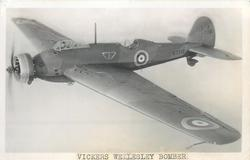 "VICKERS WELLESLEY, GENERAL PURPOSE MONOPLANE OF ""GEODETIC"" CONSTRUCTION. BRISTOL PEGASUS 950 H.P. ENGINE. EQUIPMENT OF LONG RANGE DEVELOPMENT FLIGHT. BOMBS CARRIED IN STREAMLINED CONTAINERS"