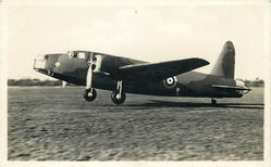 "VICKERS WELLINGTON, LONG-RANHE BOMBER. TWO 900 H.P. BRISTOL PEGASUS ENGINES. ""GEODETIC"" CONSTRUCTION, POWER-DRIVEN GUN TURRETS IN NOSE AND TAIL. BOMBS CARRIED INTERNALLY"