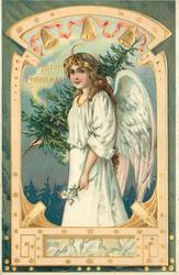 A HAPPY CHRISTMAS  angel carries tree on her shoulder