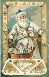 A HAPPY CHRISTMAS  white suited Santa with blue cap, holds book in left hand and twig in right, basket of toys below