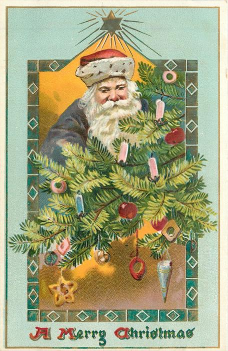 A MERRY CHRISTMAS  Santa's face with red hat, purple robes centrally behind Xmas tree branches with many ornaments, star above central