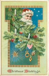 CHRISTMAS BLESSINGS  Santa's face with red hat, in Xmas tree branches with many ornaments, stars in insert