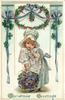 CHRISTMAS GREETINGS  white bonnetted girl with violets
