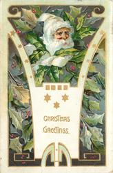 CHRISTMAS GREETINGS  white capped Santa's face in holly