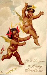 two winged black angels or cupids flying, facing half right with arms outstretched
