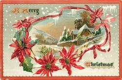 irregular ribbon surrounding inset church with gate in front, light in window, poinsettia blooms around