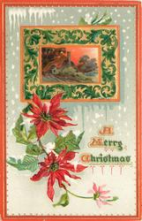 rectangular inset top in bordered in design of house with chimney, poinsettia blooms around