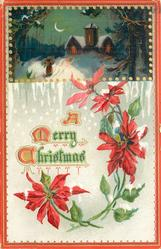 rectangular inset top of card, person walks toward church with lights in windows, moon left, poinsettia blooms around