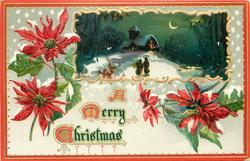 rectangular inset two people walking in snow at night toward house with light in window, poinsettia blooms around