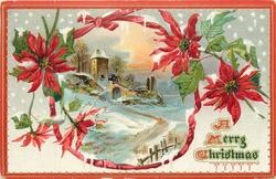 ribbon border surrounding inset of church with arched gateway, poinsettia blooms around