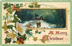 rectangular inset people walking up to lighted church in snow, moon right, flowers & ivy left