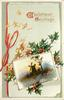 CHRISTMAS GREETINGS  inset windmill and tree, ribbon left with bow