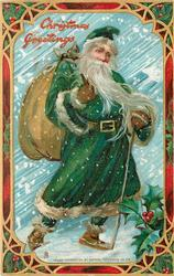 CHRISTMAS GREETINGS  green robed Santa with long flowing beard, bag over right shoulder