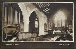 back desc. VIEW OF THE INTERIOR, SHOWING THE TWO ALTARS AND SIR JOHN LEIGH'S CANOPIED TOMB