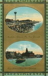 2 insets BEACH FROM BRITANNIA PIER and TOWN HALL AND QUAY