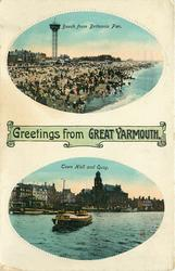 GREETINGS FROM GREAT YARMOUTH, 2 insets BEACH FROM BRITANNIA PIER and TOWN HALL AND QUAY