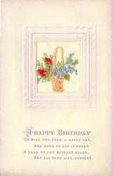 A HAPPY BIRTHDAY wicker basket inset with blue forget-me-nots and two red buds