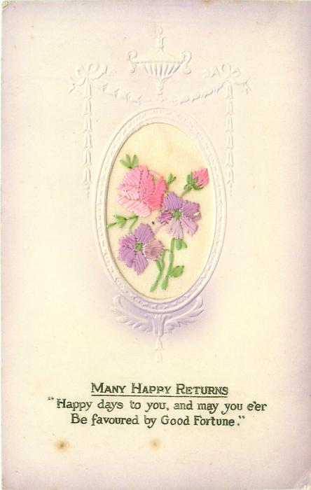 MANY HAPPY RETURNS oval inset purple flowers, pink rose & bud, set in embossed nouveau design