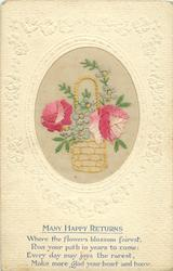 MANY HAPPY RETURNS oval inset wicker basket 2 pink roses & forget-me-me-nots, set in embossed nouveau design