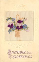 BIRTHDAY GREETINGS in lilac, wicker basket of purole/white pansies & blue forget-me-nots