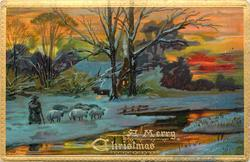 shepherd with cane tends to sheep on snow, river to right, house lights between trees
