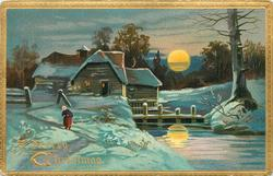 woman on path, left of water, house behind with four post bridge, moon reflects in water