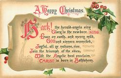 A HAPPY CHRISTMAS  HARK! THE HERALD ANGELS SING GLORY TO THE NEW-BORN KING//CHRIST IS BORN IN BETHLEHEM
