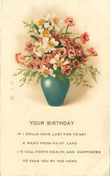 YOUR BIRTHDAY vase of anemones & narcissi