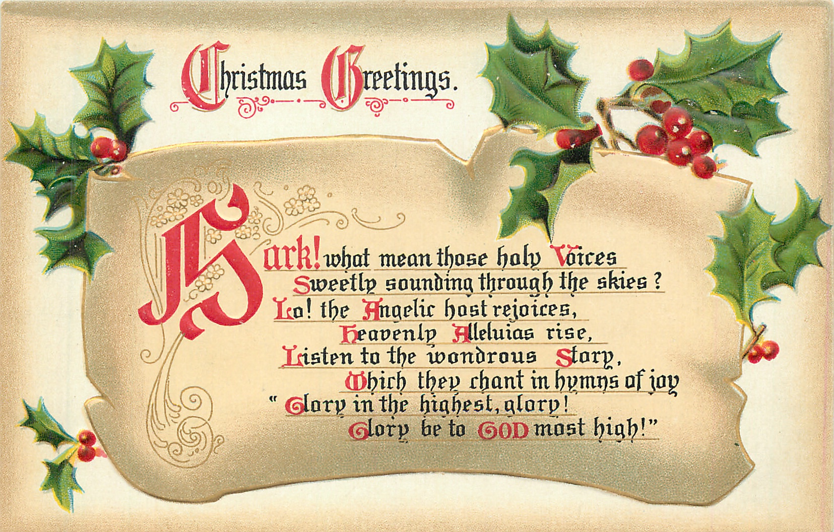 Christmas Greetings Hark What Mean Those Holy Voices Sweetly