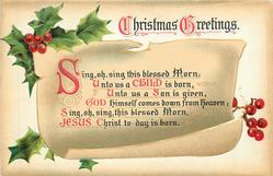 CHRISTMAS GREETINGS  SING, OH SING THIS BLESED MORN: UNTO US A CHILD IS BORN//JESUS CHRIST TO-DAY IS BORN