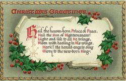 CHRISTMAS GREETINGS  HAIL THE HEAVEN-BORN PRINCE....