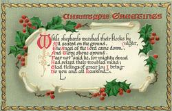 CHRISTMAS GREETINGS  WHILE SHEPHERDS....