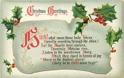 CHRISTMAS GREETINGS  HARK!  WHAT MEAN THESE HOLY VOICES SWEETLY SOUNDING THROUGH THE SKIES?//GLORY BE TO GOD MOST HIGH