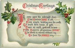 CHRISTMAS GREETINGS  IT CAME UPON THE MIDNIGHT CLEAR, THAT GLORIOUS SONG OF OLD//TO HEAR THE ANGELS SING