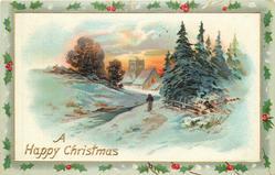 A HAPPY CHRISTMAS  woman walks away along streamside path, church behind, trees right