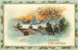 A JOYOUS CHRISTMAS  mother & child walk front across bridge, snowy church behind, two silver birch right
