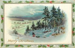 A MERRY CHRISTMAS  woman drags sled down hill, snowy meadows behind left, pine woods right