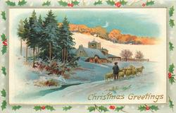 CHRISTMAS GREETINGS  man herds sheep to right, trees left, houses centre, quarter moon above