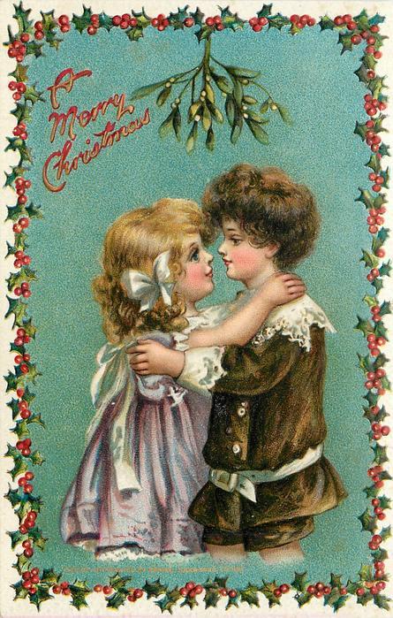 A MERRY CHRISTMAS  boy & girl face each other under mistletoe